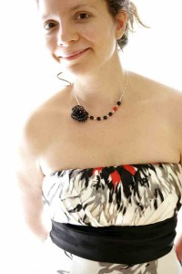 poppy necklace made of black silk with white polka dots