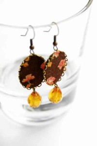 brown earrings with flowers