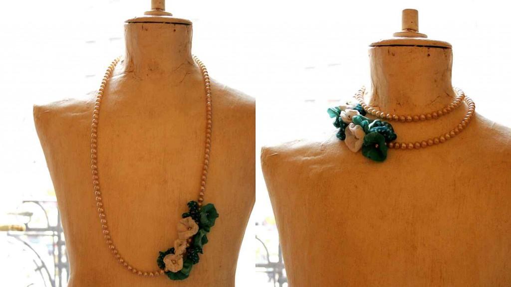 vadjutka design jewelry necklace with silk poppy flowers