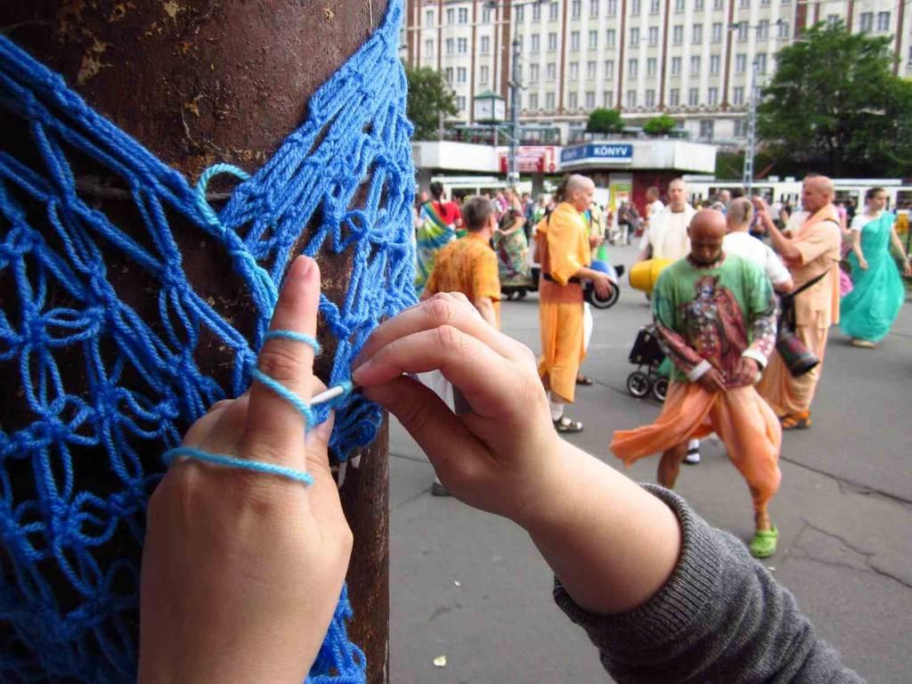 guerilla knitting in Budapest, Hungary