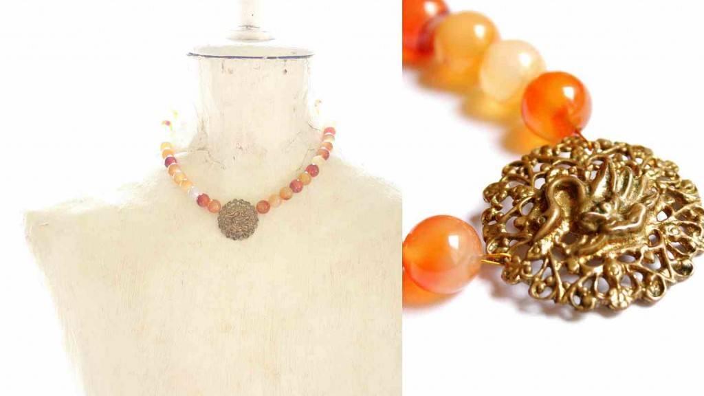 vintage brooch necklace - redesign - Swan