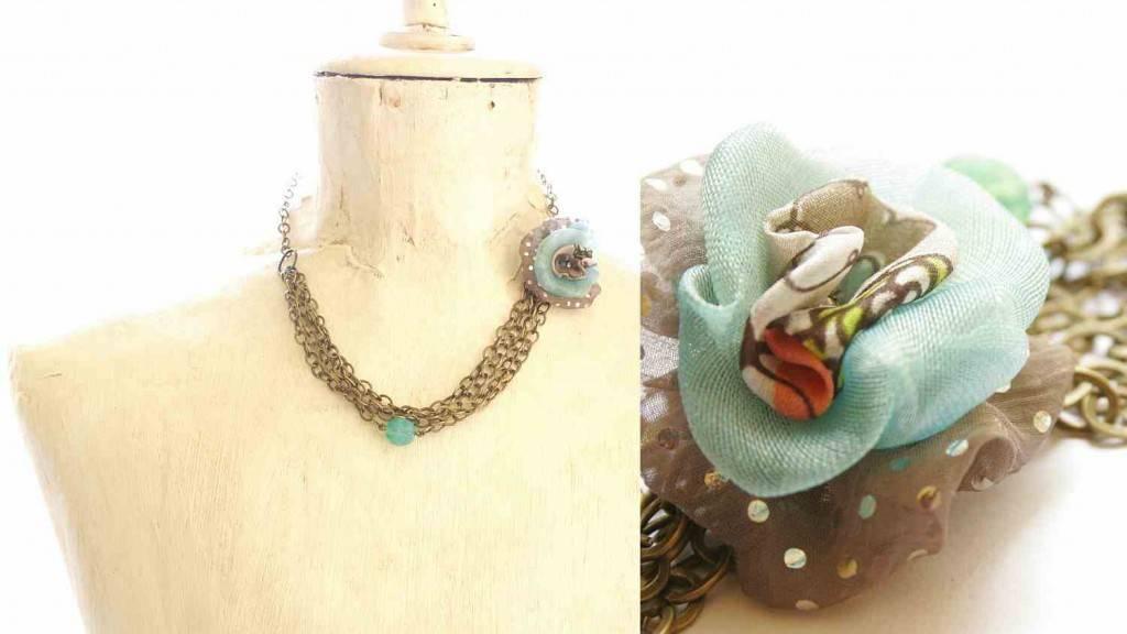 textilékszer nyaklánc vadjutka / textile jewelry