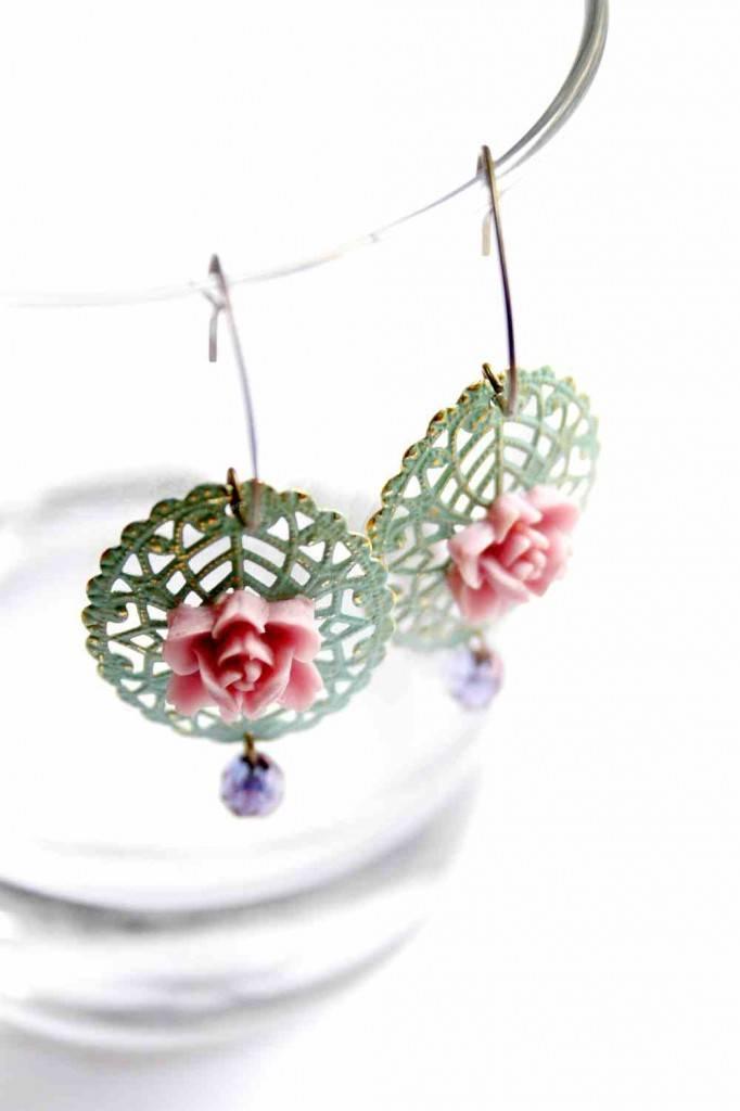filigree patina earrings