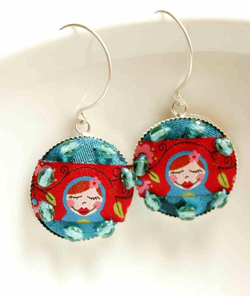 design ékszer fülbevaló matrjoska babával / design jewelry earrings with matryoshka doll