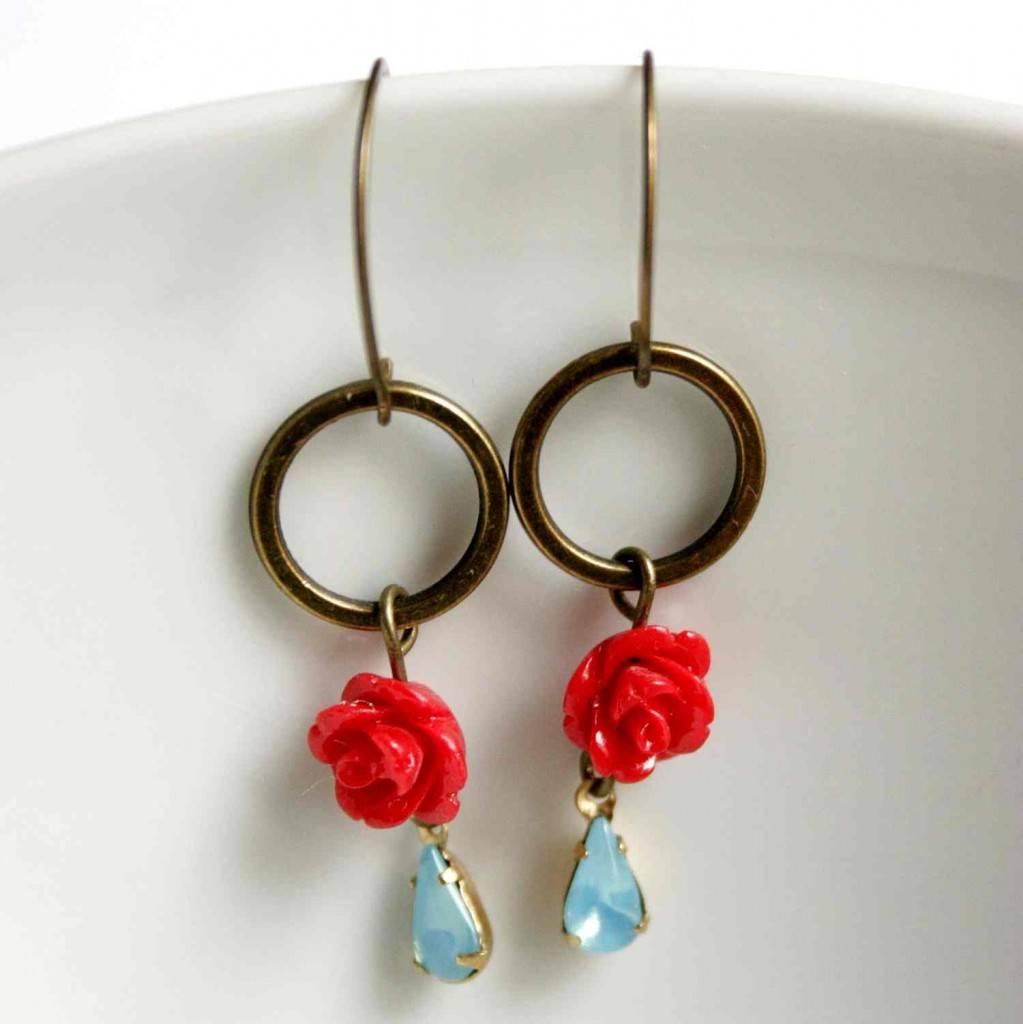 design ékszer fülbevaló rózsákkal