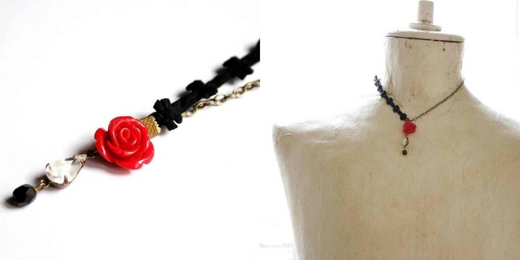 design ékszer nyaklánc rózsákkal