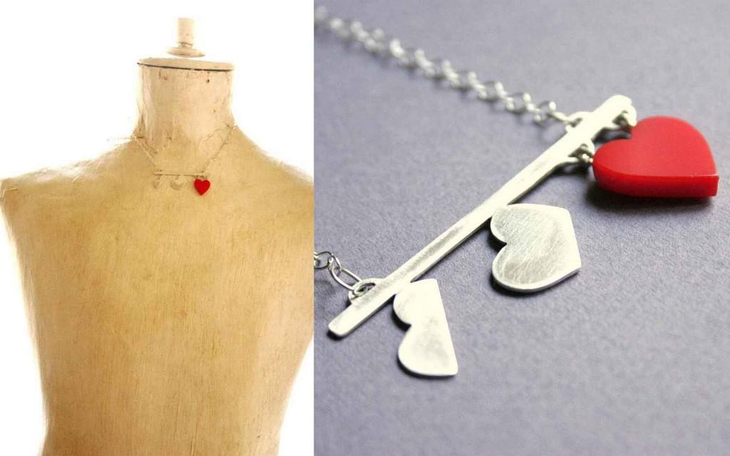 felkelő szív ezüst ékszer nyaklánc