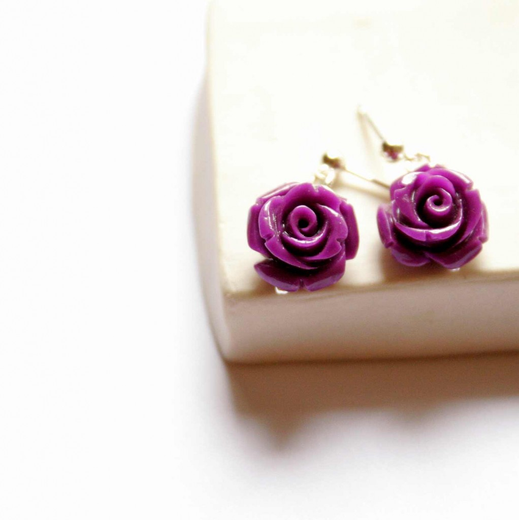 violet rose sterling silver stud earring