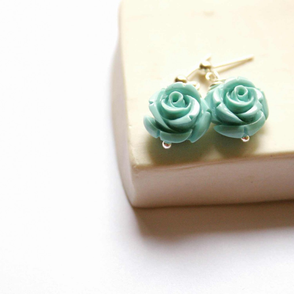 post earrings sterling silver turquoise resin rose