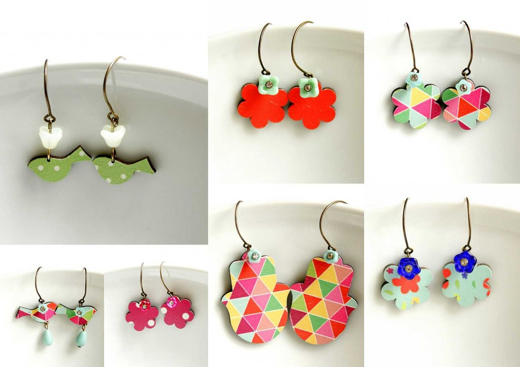 dangle earrings made of wood