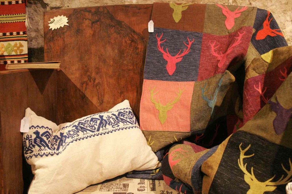upcycled pillows and a deer blanket
