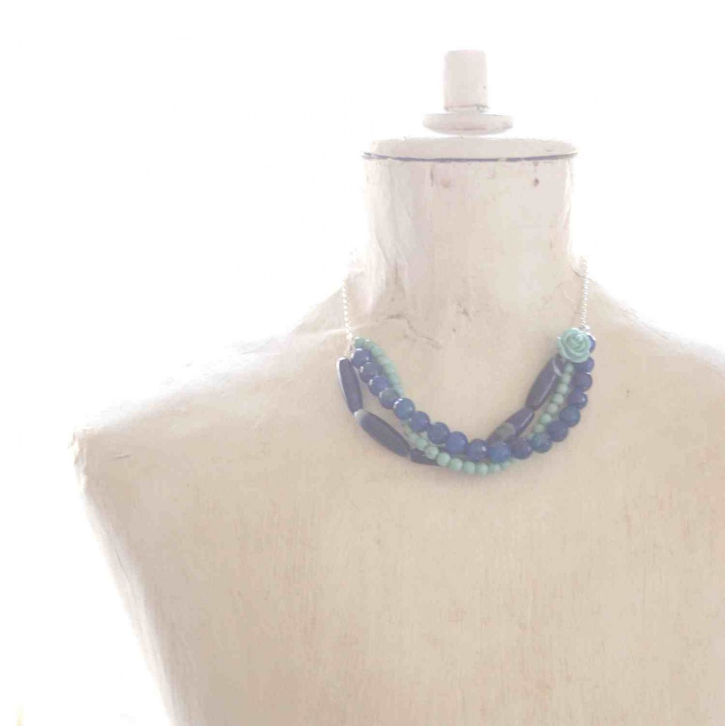 sterling silver necklace with semiprecious gemstones in blue