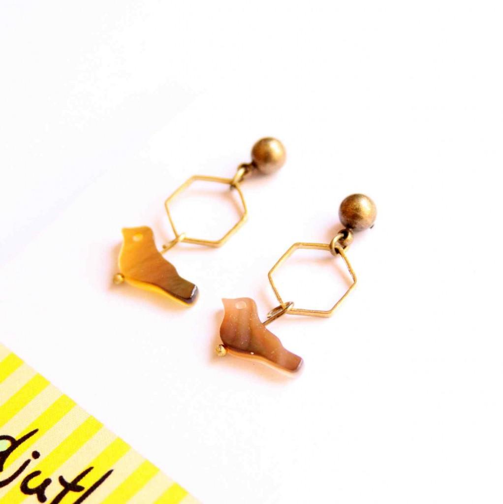 bird and geometry earrings