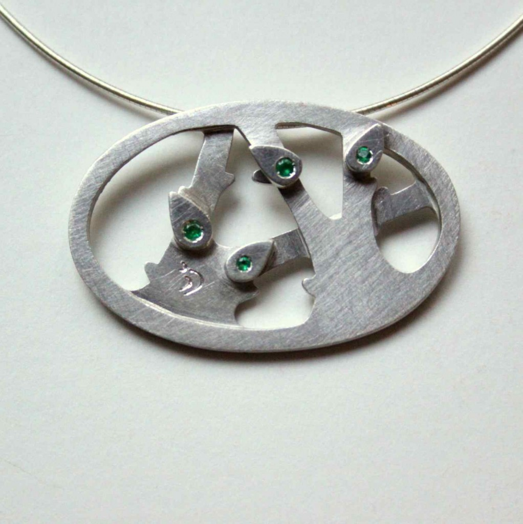sterling silver necklace with emerald gemstones vadjutka design