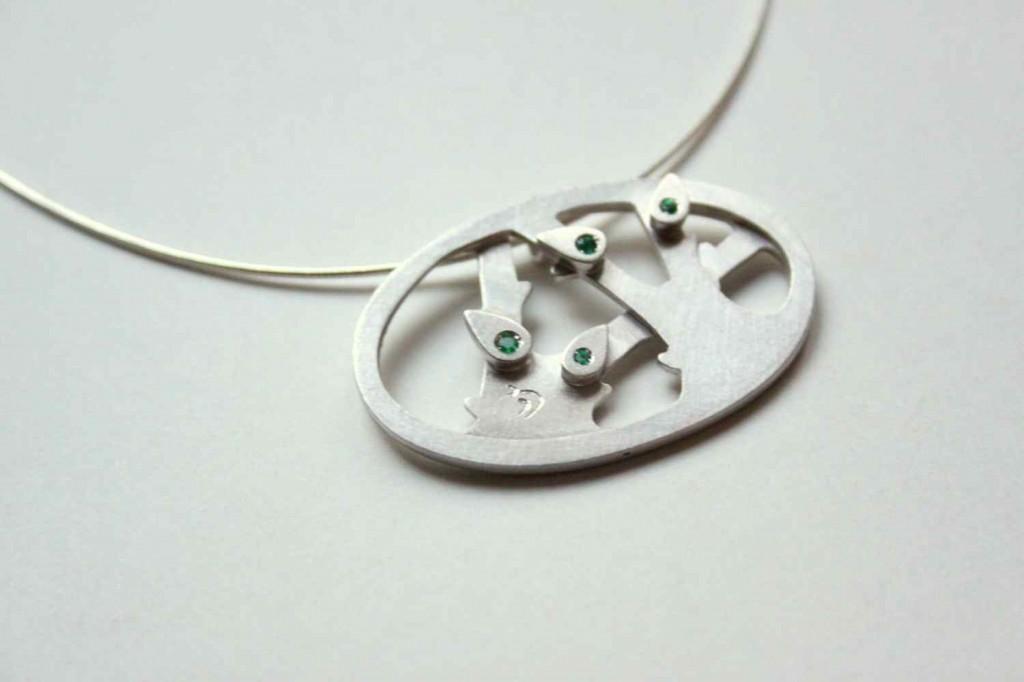 vadjutka design ékszer ezüst nyaklánc fával